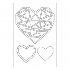 Catherine Pooler - Faceted Heart Trio Stencil