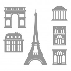 Honey Bee Stamps - Paris Skyline Scene Builder Honey Cuts