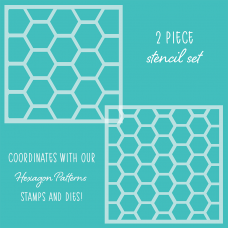 Honey Bee Stamps - Hexagon Patterns Background Stencil (Set of 2)