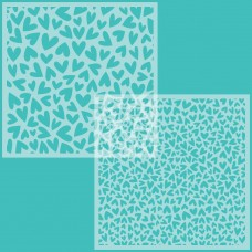 Honey Bee Stamps - Fluttering Hearts Background Stencil (Set of 2)