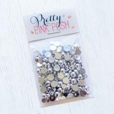Pretty Pink Posh - Metallic Silver Pearls