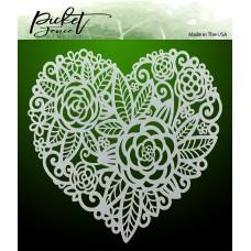 Picket Fence Studios - Flowers In A Heart Stencil
