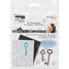 Scrapbook Adhesives - 3D foam keys - white/black