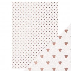 Tonic Studios - Craft Perfect - Foiled Kraft Card - Rose Gold Hearts (280 gsm A4 - 5 sheets)