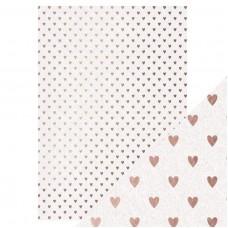 Tonic Studios - Craft Perfect - Foiled Kraft Card - Rose Gold Hearts (280 gsm A4 - 5 sheets)