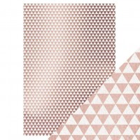 Tonic Studios - Craft Perfect - Foiled Kraft Card - Rose Gold Triangles (280 gsm A4 - 5 sheets)