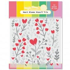 Waffle Flower - Heart Blooms Stencil Trio