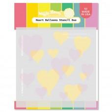 Waffle Flower - Heart Balloons Stencil Duo